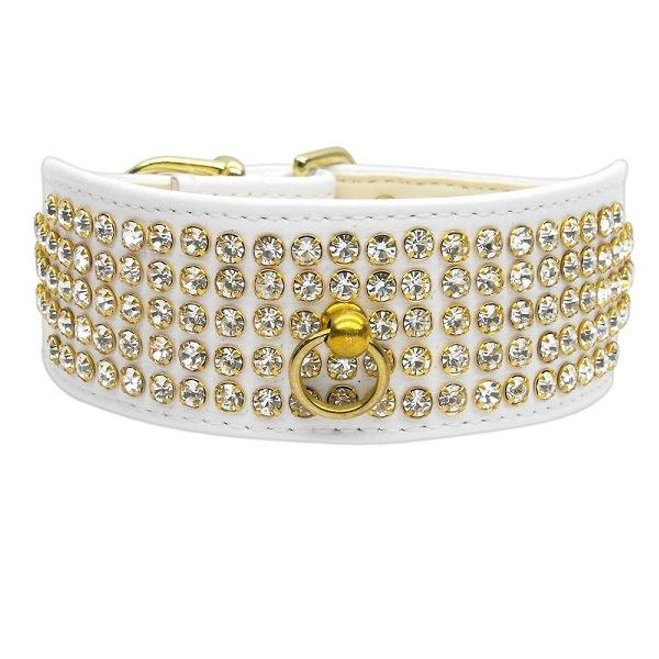 Clear Crystal 5 Row Mirage Dog Collar - White | The Pet Boutique