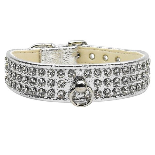 Clear Crystal #73 Dog Collar - Silver   The Pet Boutique
