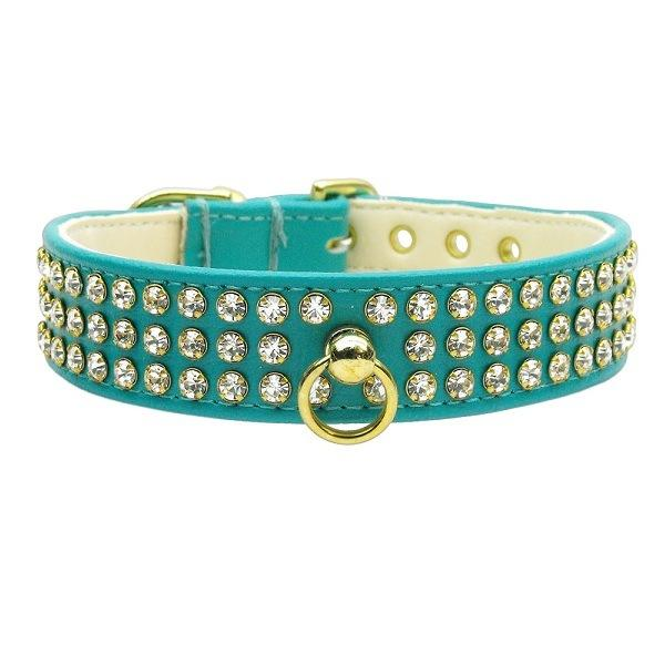 Clear Crystal #73 Dog Collar - Turquoise   The Pet Boutique