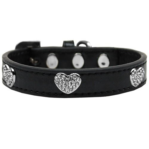 Crystal Heart Dog Collar - Black | The Pet Boutique