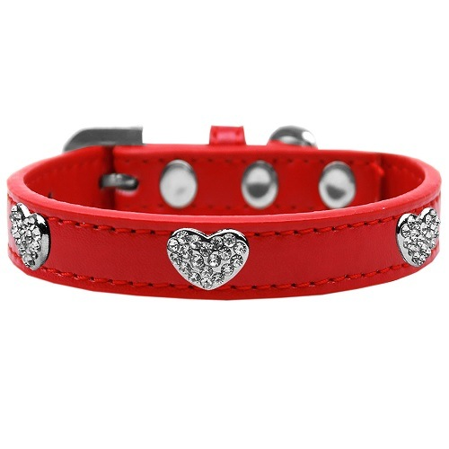 Crystal Heart Dog Collar - Red | The Pet Boutique