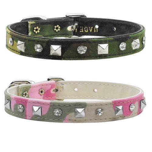 Crystal and Pyramid Camo Dog Collar   The Pet Boutique