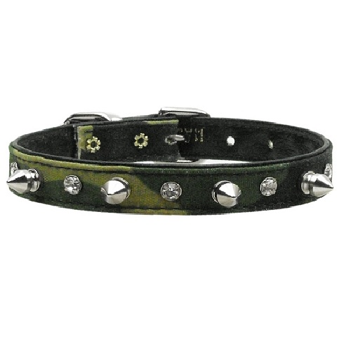 Crystal and Spike Camo Dog Collar - Green Camo | The Pet Boutique