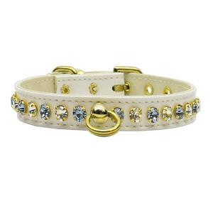 Deluxe Dog Collar - White with Light Blue Stones   The Pet Boutique