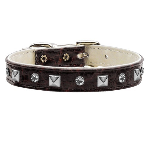 Faux Snake Skin Crystal and Pyramid Dog Collar - Chocolate   The Pet Boutique