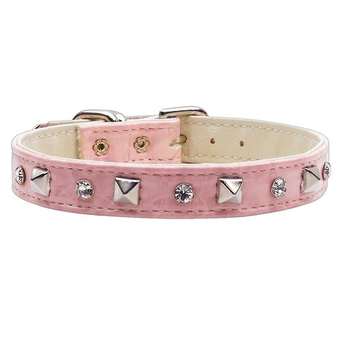 Faux Snake Skin Crystal and Pyramid Dog Collar - Pink   The Pet Boutique