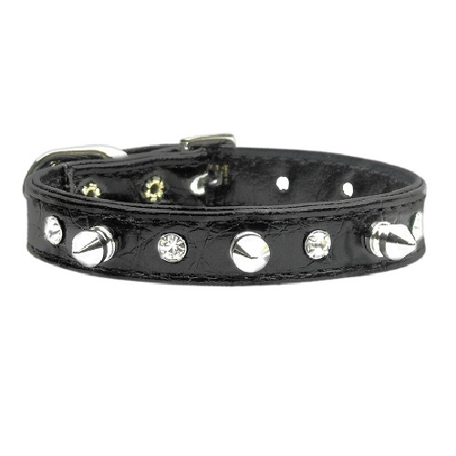 Faux Snake Skin Crystal and Spike Dog Collar - Black | The Pet Boutique