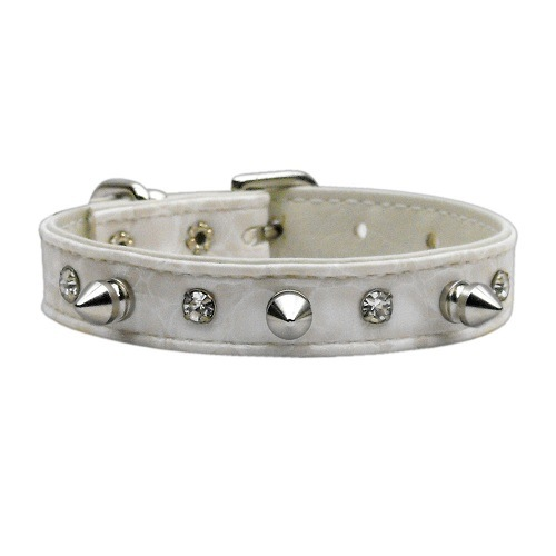 Faux Snake Skin Crystal and Spike Dog Collar - Off White | The Pet Boutique