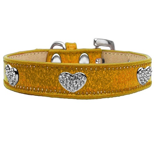 Ice Cream Crystal Heart Dog Collar - Gold   The Pet Boutique