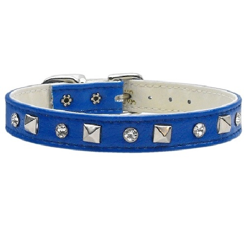 Just the Basics Crystal and Pyramid Dog Collar - Blue | The Pet Boutique