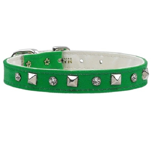Just the Basics Crystal and Pyramid Dog Collar - Emerald Green | The Pet Boutique
