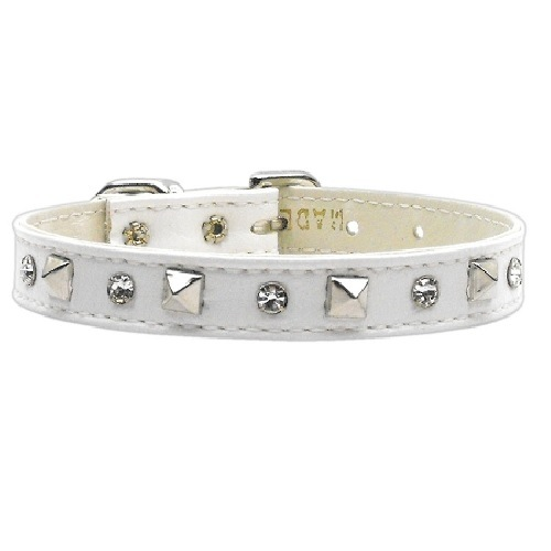 Just the Basics Crystal and Pyramid Dog Collar - White | The Pet Boutique