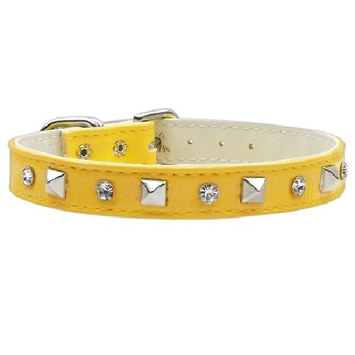 Just the Basics Crystal and Pyramid Dog Collar - Yellow | The Pet Boutique