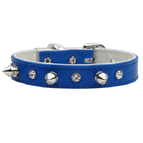 Just the Basics Crystal and Spike Dog Collar - Blue   The Pet Boutique
