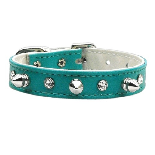 Just the Basics Crystal and Spike Dog Collar - Turquoise   The Pet Boutique