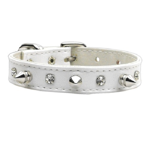 Just the Basics Crystal and Spike Dog Collar - White   The Pet Boutique