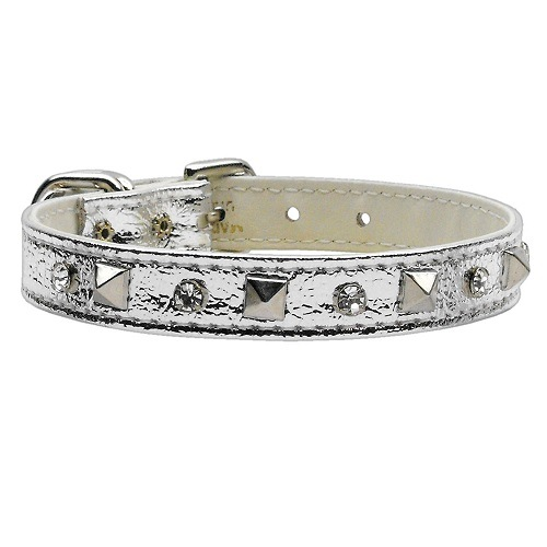 Metallic Crystal and Pyramid Dog Collar - Silver | The Pet Boutique