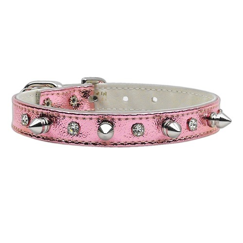 Metallic Crystal and Spike Dog Collar - Pink   The Pet Boutique