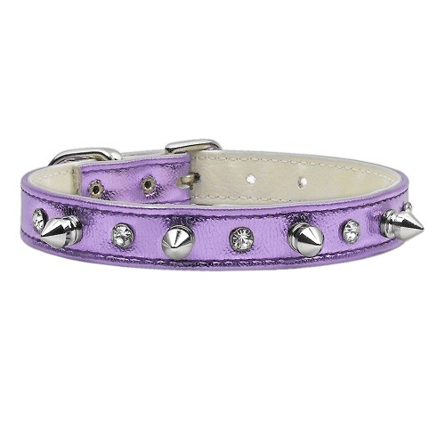 Metallic Crystal and Spike Dog Collar - Purple   The Pet Boutique