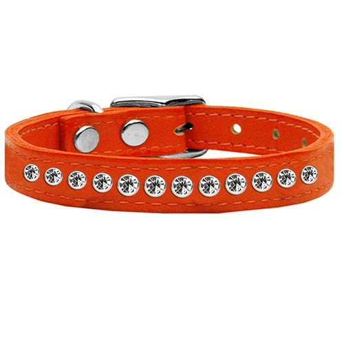 One Row Clear Jeweled Leather Dog Collar - Orange | The Pet Boutique