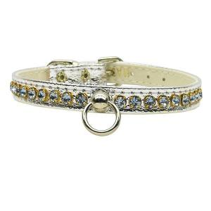Petite Rhinestone Dog Collar - Silver with Light Blue Stones   The Pet Boutique