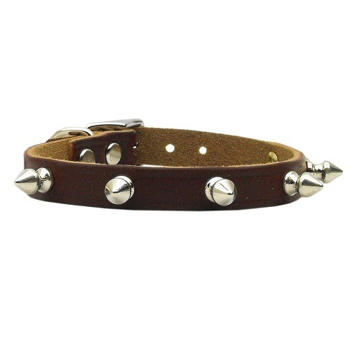 Spike Leather Dog Collar - Burgundy   The Pet Boutique