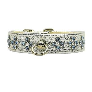 Tiara Rhinestone Dog Collar - Silver with Light Blue Stones   The Pet Boutique