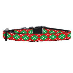 Argyle Christmas Nylon and Ribbon Cat Safety Collar | The Pet Boutique