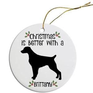 Round Christmas Ornament - Brittany   The Pet Boutique