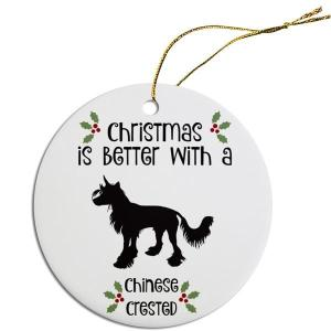 Round Christmas Ornament - Chinese Crested   The Pet Boutique