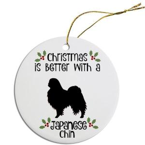 Round Christmas Ornament - Japanese Chin   The Pet Boutique