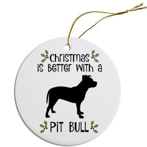Round Christmas Ornament - Pit Bull   The Pet Boutique