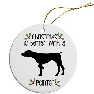 Round Christmas Ornament - Pointer   The Pet Boutique