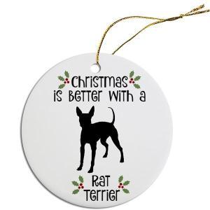 Round Christmas Ornament - Rat Terrier   The Pet Boutique
