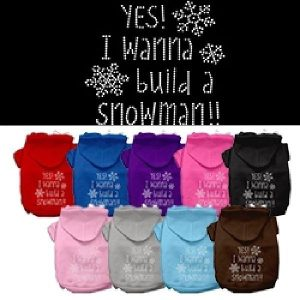 Yes! I Want to Build a Snowman Rhinestone Dog Hoodie | The Pet Boutique