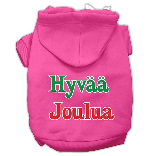 Hyvaa Joulua Screen Print Pet Hoodie - Bright Pink | The Pet Boutique
