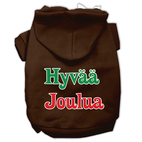 Hyvaa Joulua Screen Print Pet Hoodie - Brown | The Pet Boutique