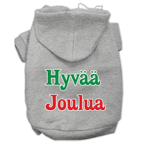 Hyvaa Joulua Screen Print Pet Hoodie - Grey | The Pet Boutique
