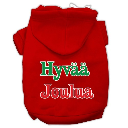 Hyvaa Joulua Screen Print Pet Hoodie - Red | The Pet Boutique