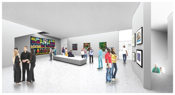 An architectural mock-up of one of the gallery's exhibit room. It shows patrons looking at art on the walls.