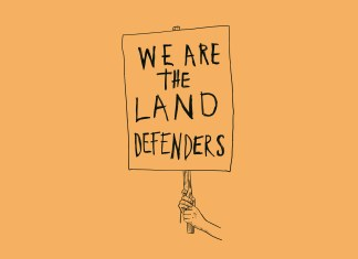 """An illustration in black lines on a yellow background. It shows a hand holding up a sign that says """"WE ARE THE LAND DEFENDERS."""""""