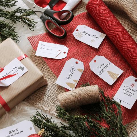 Des étiquettes à imprimer pour les cadeaux de Noël