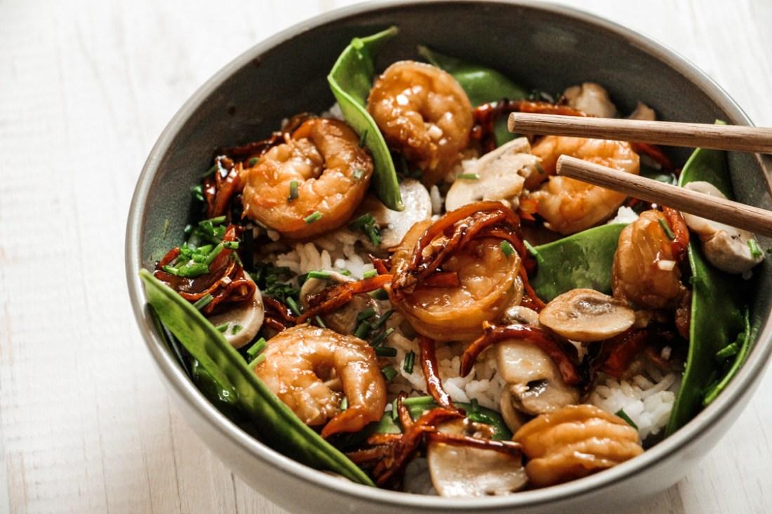 Recette riz scampis legumes soja miel