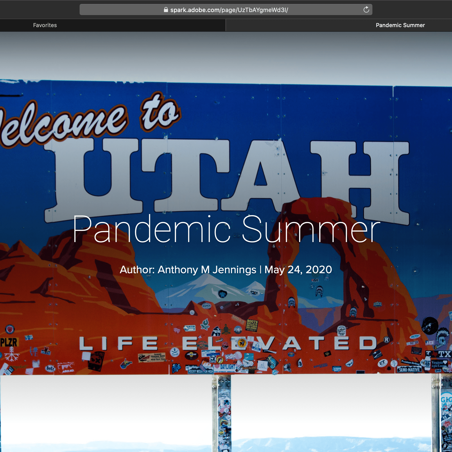 Digital Storytelling Campaign - Pandemic Summer Sample Page Utah