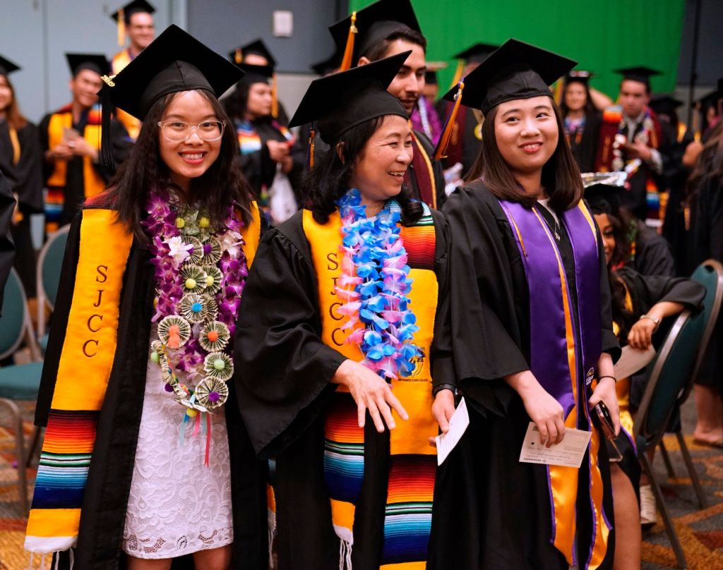 San José City College students at Commencement in 2019 at the Santa Clara Convention Center.