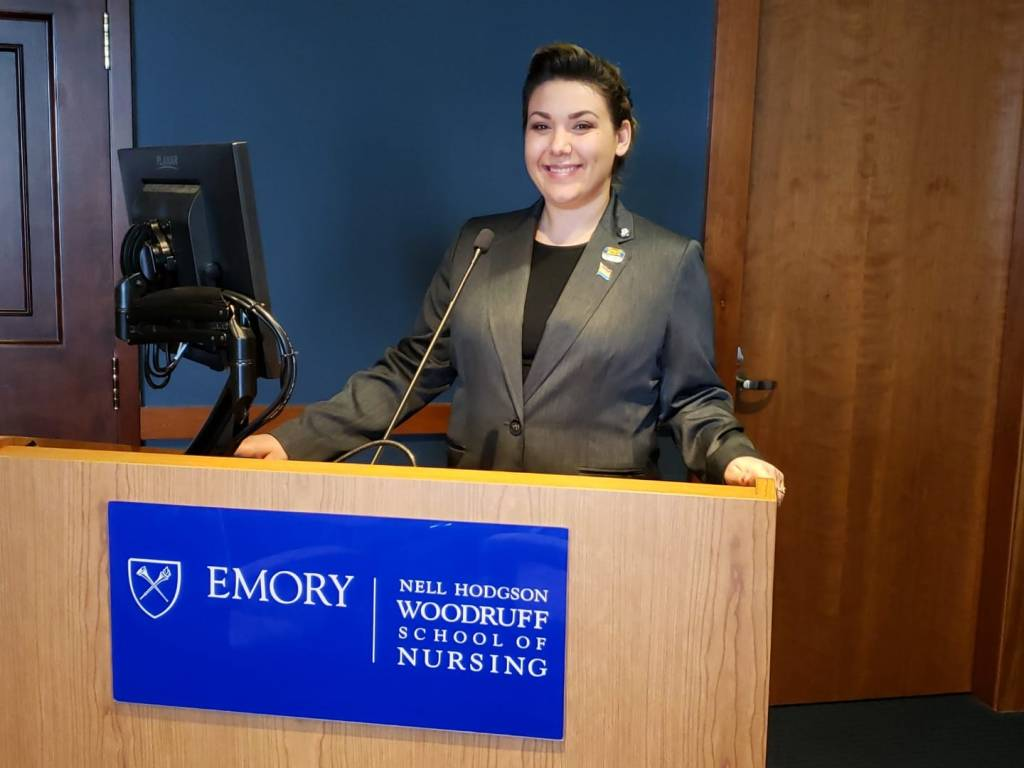"""San José City College Chang Scholar, Dr. Athena DF Sherman presenting her work titled, """"Transgender and Gender Diverse Community Connection, Help-Seeking, and Mental Health among Black Transgender Women who have Survived Violence: A mixed-methods analysis"""" at the Emory School of Nursing."""