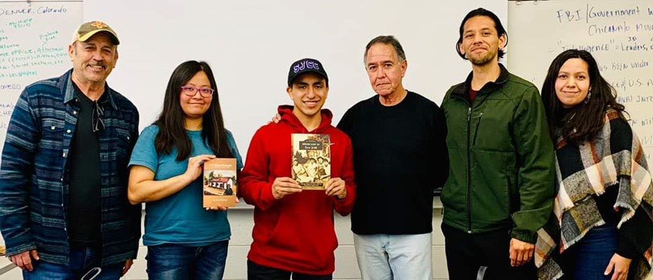 SJCC Ethnic Studies 31class invited Ernesto B. Vigil, author of The Crusade for Justice: Chicano Militancy and the Government's War on Dissent, to give a speech. (From left to right): Arturo Villarreal, Evergreen Ethnic Studies faculty; Demi Yang; Joaquin Covarrubias; Ernesto B. Vigil; Juan Gamboa and Jacqueline Gamboa, SJCC faculty.