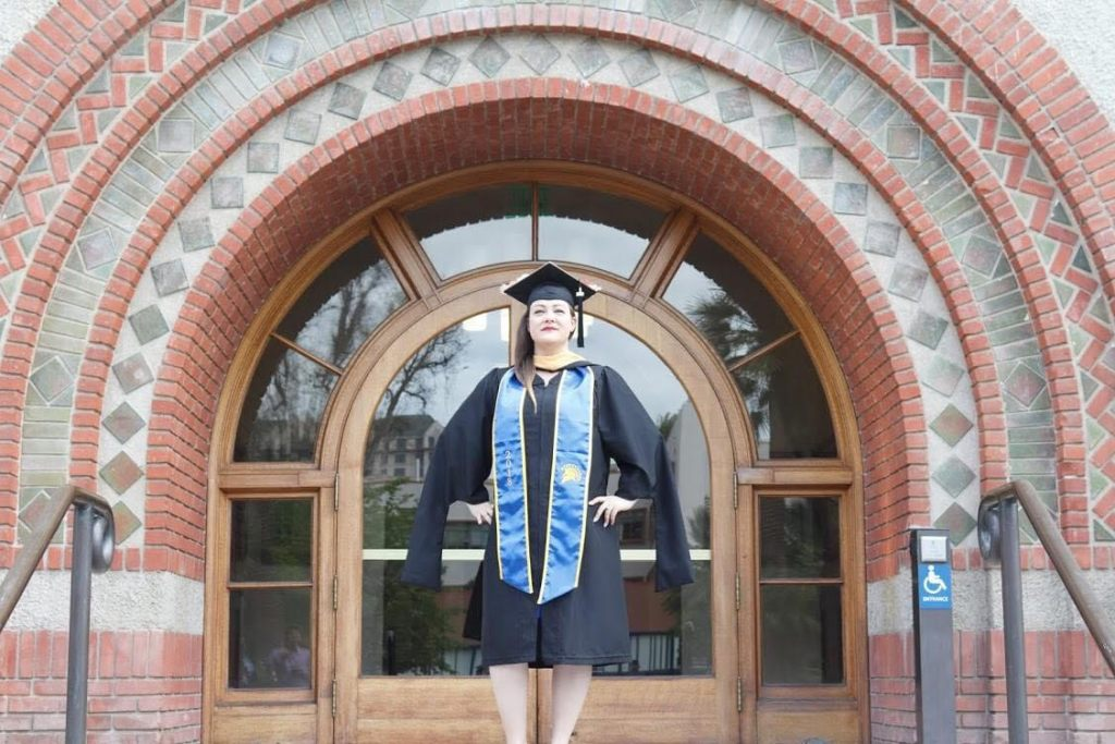 Vanessa Payne, San José City College Chang Scholar in 2006, graduates with a Master of Social Work from San José State University.