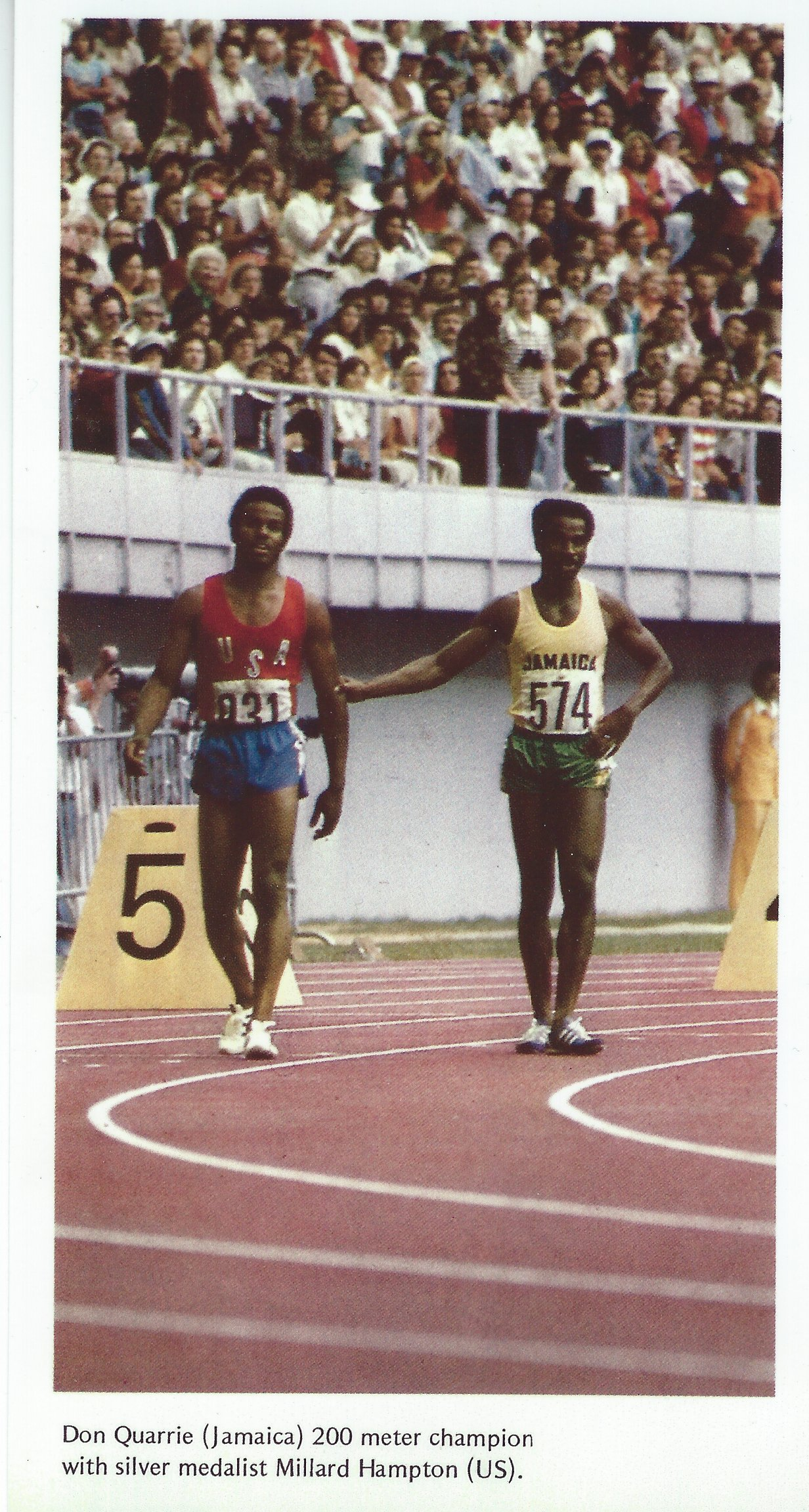 Hampton and Quarrie after the 200m final