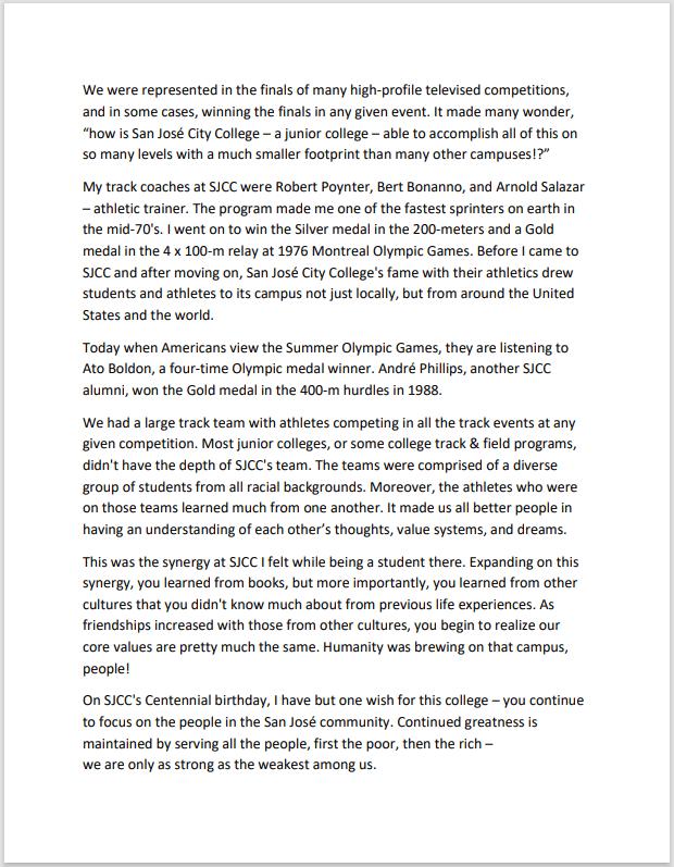 Millard Hampton's SJCC Centennial statement - page 2
